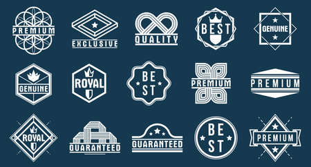 Premium best quality vector emblems set, black and white badges   collection for different products and business, classic graphic design elements, insignias and awards.