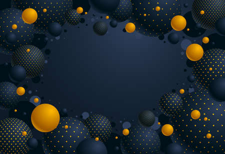 Abstract black and yellow dotted spheres vector background with copy space, composition of flying balls decorated with dots, 3D mixed globes Illustration
