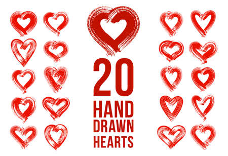Hand drawn hearts  icons set, sketch doodle graphic design elements, brush stroke painted hearts symbols collection,