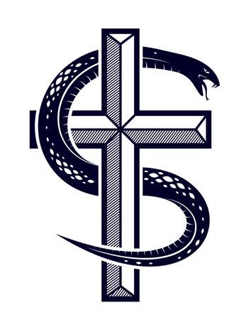 Snake wraps around Christian cross, the struggle between good and evil, saint and sinner, love and hate, life and death symbolic vector illustration Vektoros illusztráció