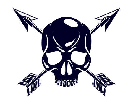 Jolly Roger dead head aggressive skull, Pirates vector emblem with weapons, vintage style tattoo.
