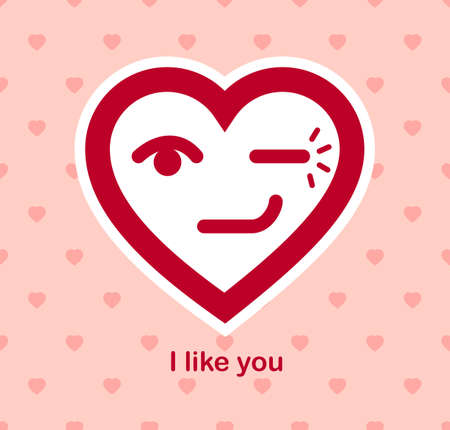 Blinking heart cheerful adorable facial expression, isolated vector conceptual icon or design, simple icon funny, compliment idea, flirt and romance theme.