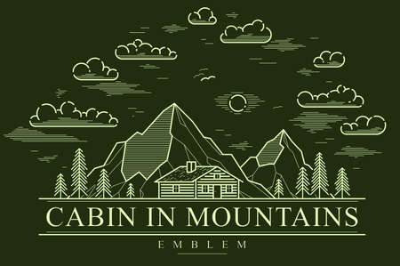 Cabin in mountains linear vector nature emblem on dark, log cabin cottage for rest in pine forest, holidays and vacations theme line art drawing Vetores