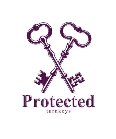 Crossed keys, protected secret, electronic data protection, keys to heaven, hotel label, vintage antique turnkeys vector logo or emblem. Logo