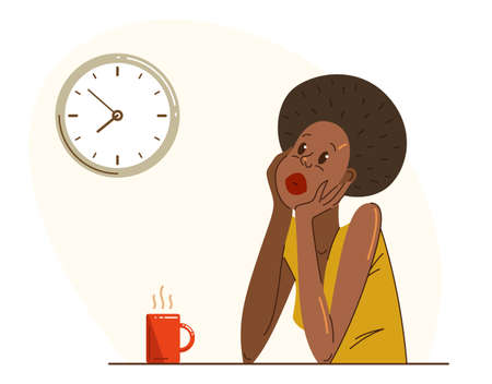 Young African ethnicity woman office worker having coffee break during a day vector flat illustration isolated, relaxed resting employee, job done, work finished, lazy.