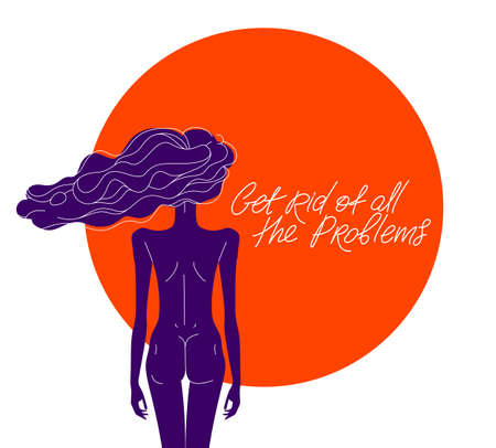 Slim young girl from back with a hair on a wind relaxed and calm vector illustration, daydream and rest concept, get rid of all the problems.