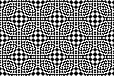 Checkered seamless pattern with optical illusion of spherical volume, black and white geometric abstract background, chess board 3D effect op art. Vektorgrafik