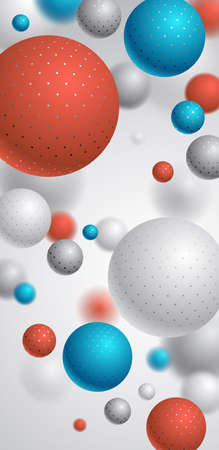 Realistic dotted spheres vector illustration smartphone background, abstract background for phone with beautiful balls with dots and depth of field effect, 3D globes design concept art.