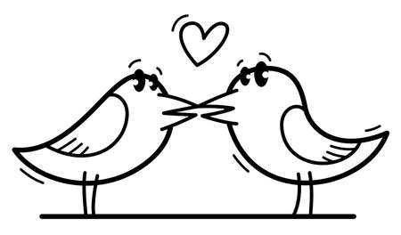 Two little cute birds lovers romantic kissing funny cartoon flat vector illustration isolated on white.