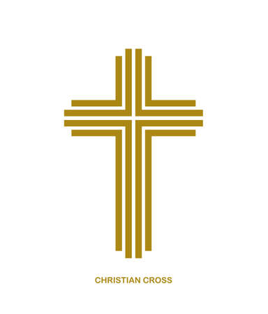 Christian cross modern linear style vector symbol isolated on white, faith and belief contemporary crucifix sign of Jesus Christ stripy graphic design.