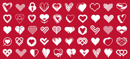 Hearts big vector set of different shapes and concepts logos or icons, love and care, health and cardiology, geometric and low poly, collection of heart shapes symbols.