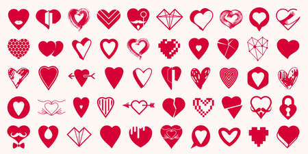 Hearts big vector set of different shapes and concepts logos or icons, love and care, health and cardiology, geometric and low poly, collection of heart shapes symbols. Logo