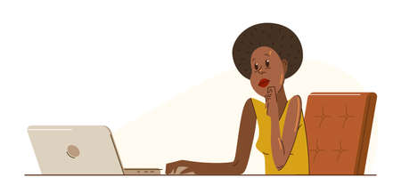 African ethnicity girl office worker pensive concentrated on her work vector flat illustration isolated, serious attentive worker seriously thinking on a project, comfortable workplace.