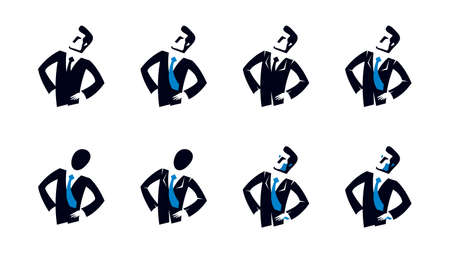 Young attractive businessman vector logo or icon set isolated on white, business man symbol.