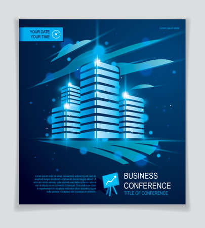 Futuristic building ad, modern vector architecture brochure with blurred lights and glares effect. Real estate realty business center blue design. 3D futuristic facade business conference template.