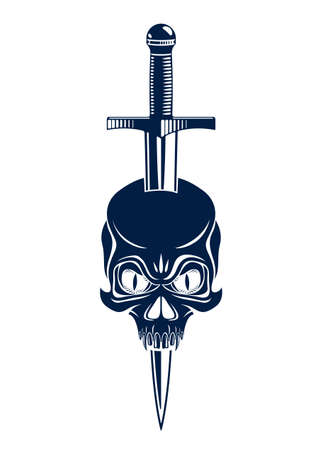 Skull killed by a dagger knife vintage vector emblem or logo isolated on white, vintage style coat of arms crest, gang sign criminality, classic style tattoo.