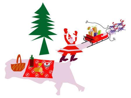 santa claus sleigh Vector Illustratie