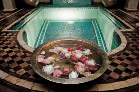 Interior in a riad. Marrakech, Morocco
