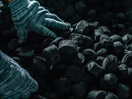 Coal mining - Man's hands in gloves holding natural black coal for back. Picture idea about coal mining, coal processing, energy source, environmental protection. Industrial coals. Conservation of forests