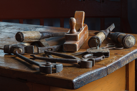 joinery: Still life in a rustic style: set of old joinery tools on a wooden table Stock Photo