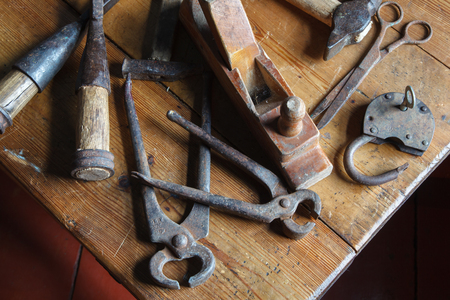 carpenter's bench: Carpentry tools on a wooden table