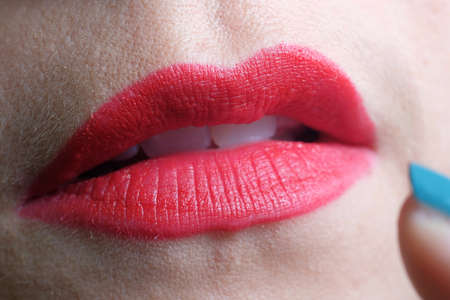 Close up of beautiful and sensual red lips