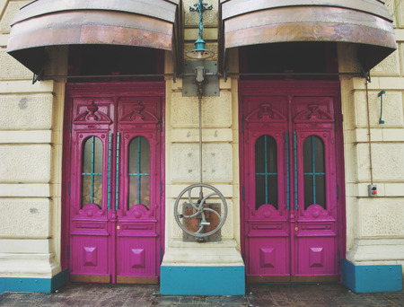style: in steampunk style doors.