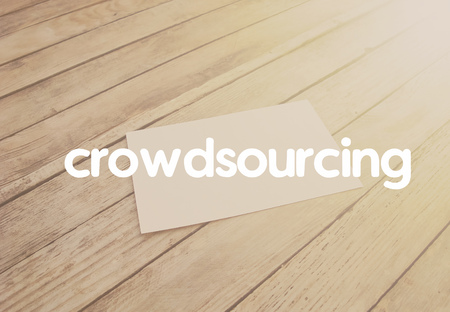 crowdsource: Crowdsourcing concept. On the texture objects of business.
