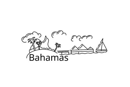 The Bahamas card. Vector in color. Postcard for the flyer or mo-cap. Illustration