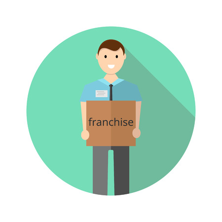 Getting a franchise. The man with the box. Vector flat.