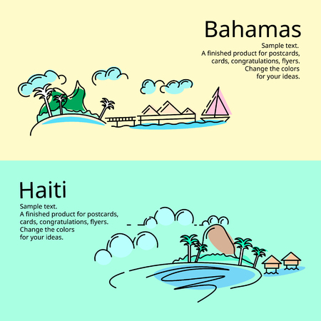 Postcards of the Bahamas and Haiti. Mock up a card or flyer. You can use just a picture.