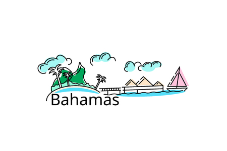 The Bahamas card. Vector in color. Postcard for the flyer or mocap. Illustration
