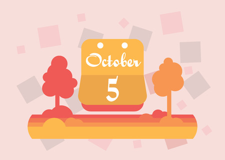 October 5 calendar. Vector flat design. On a bright background.