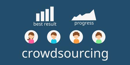 Crowdsourcing business. Vector flat design. Flyer or brochure. Crowdsourcing concept