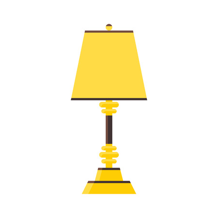lamp shade: Lamp in vector style flat. Yellow or gold color. Element of decor in the room. Illustration