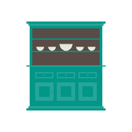 Kitchen hutch. Flat style in a vector. In color.