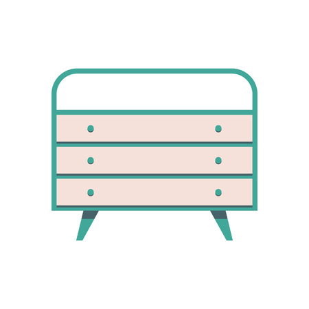 Sideboard flat vector design. It is executed in the old and modern style.