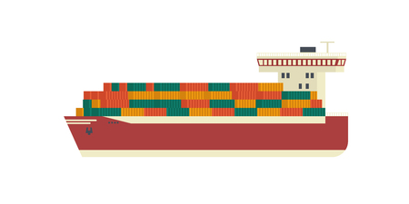 ship is carrying containers. Trans shipping flat vector design.