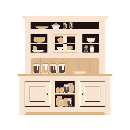 Hutch buffet with dishes of different bottles and glasses, cans and plates. Flat vector. Ilustração