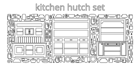 Hutch buffet set with dishes of different bottles and glasses, cans and plates. Flat vector.