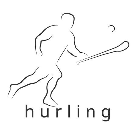 ロゴ ベクトル投げつけるゲーム。アイルランド投げつける。ハーリーとって。