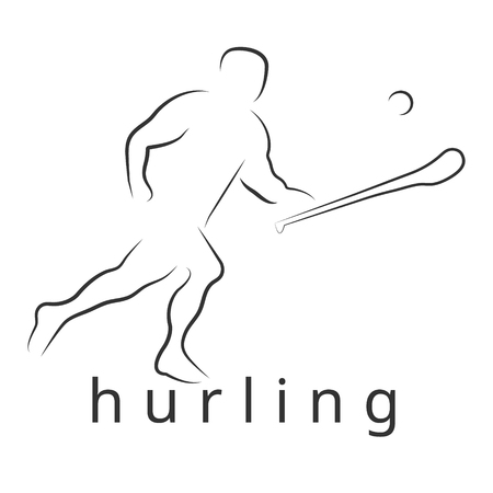 Logo vector hurling game. Ierse slingeren. Hurley en sliotar.