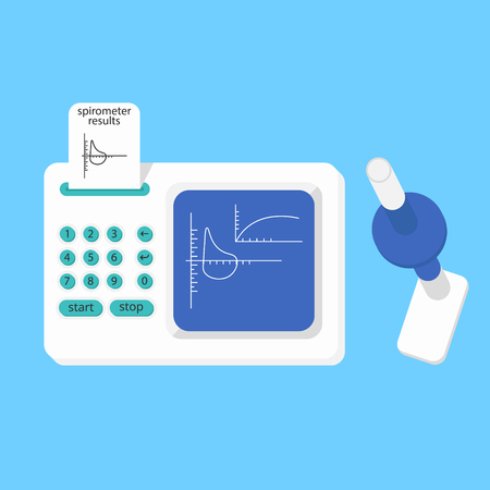 Spirometer medical equipment. The device determines the volume of the lungs. Vector flat icon.