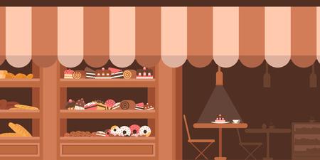 Fasada piekarni. Prezentacja ze słodyczami. Ciasta i chleb. Płaski wektor.