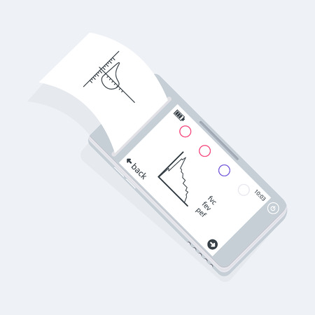 폐활량계 의료 장비. 장치는 폐의 부피를 결정합니다. 벡터 아이콘입니다.