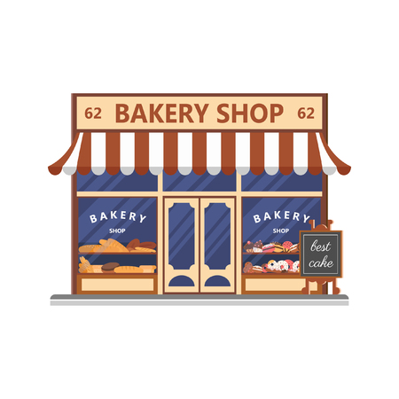 Bakery shop, showcase with sweets, cakes and bread in flat illustration.