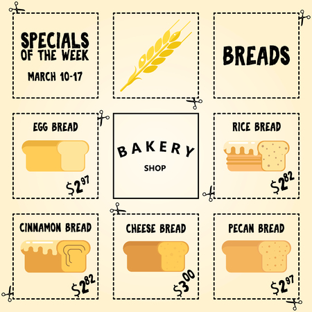 Bakery flyer, discount cards. Sale online ticket. Banner for social networks. Illustration