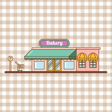 Bakery facade, showcase with sweets. Cakes and bread flat vector.