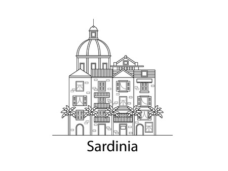 The island of Sardinia. European houses. Different sizes and constructions.