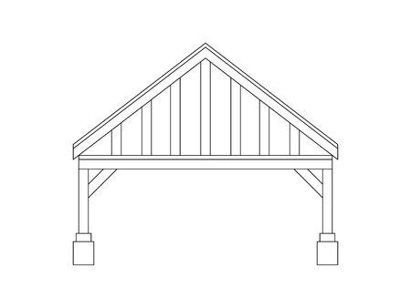 Carport for cars at home. Vector carport design in flat lines.